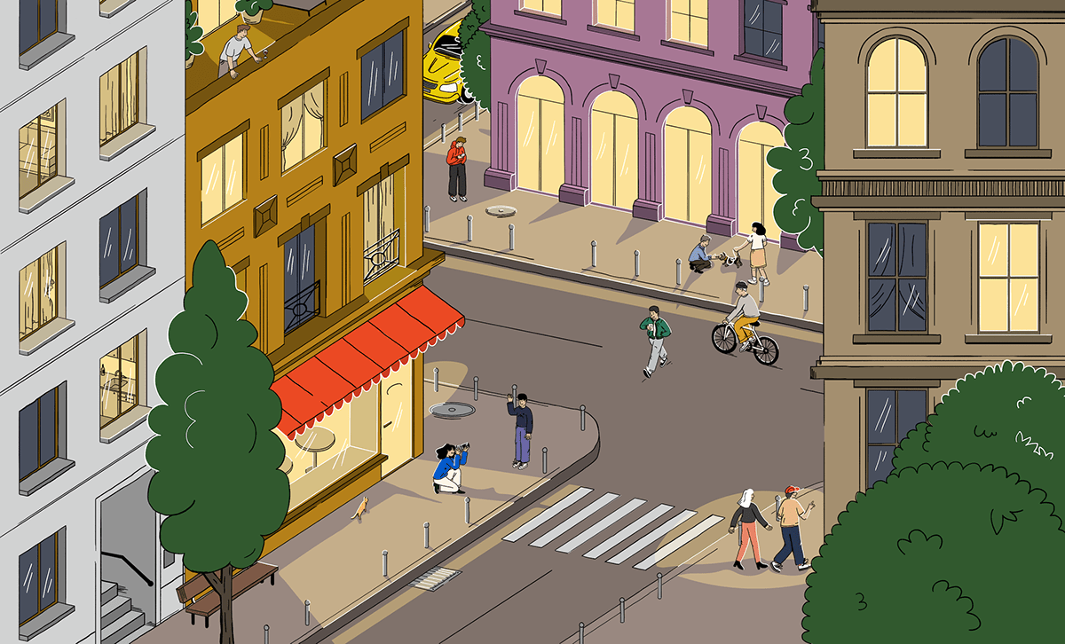 a bird view of an evening city with people walking around, taking photos, cycling and using cellphoe