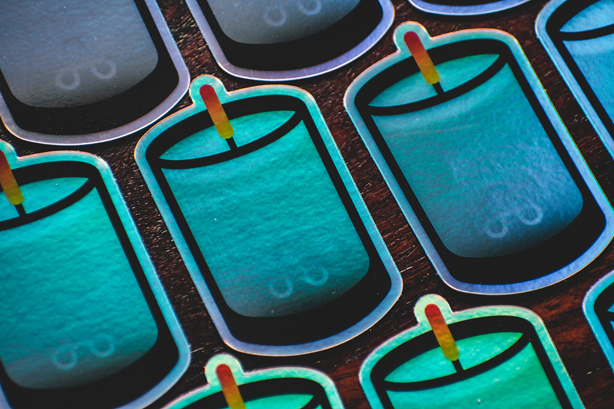 A top down view of the cascading grid pattern of the Holographic Candle stickers