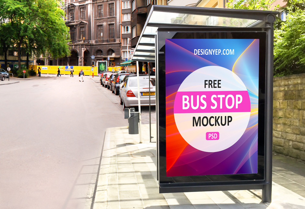 free bus stop psd mockup on behance