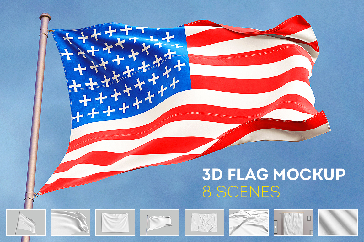 3d flag mock up free scene on behance