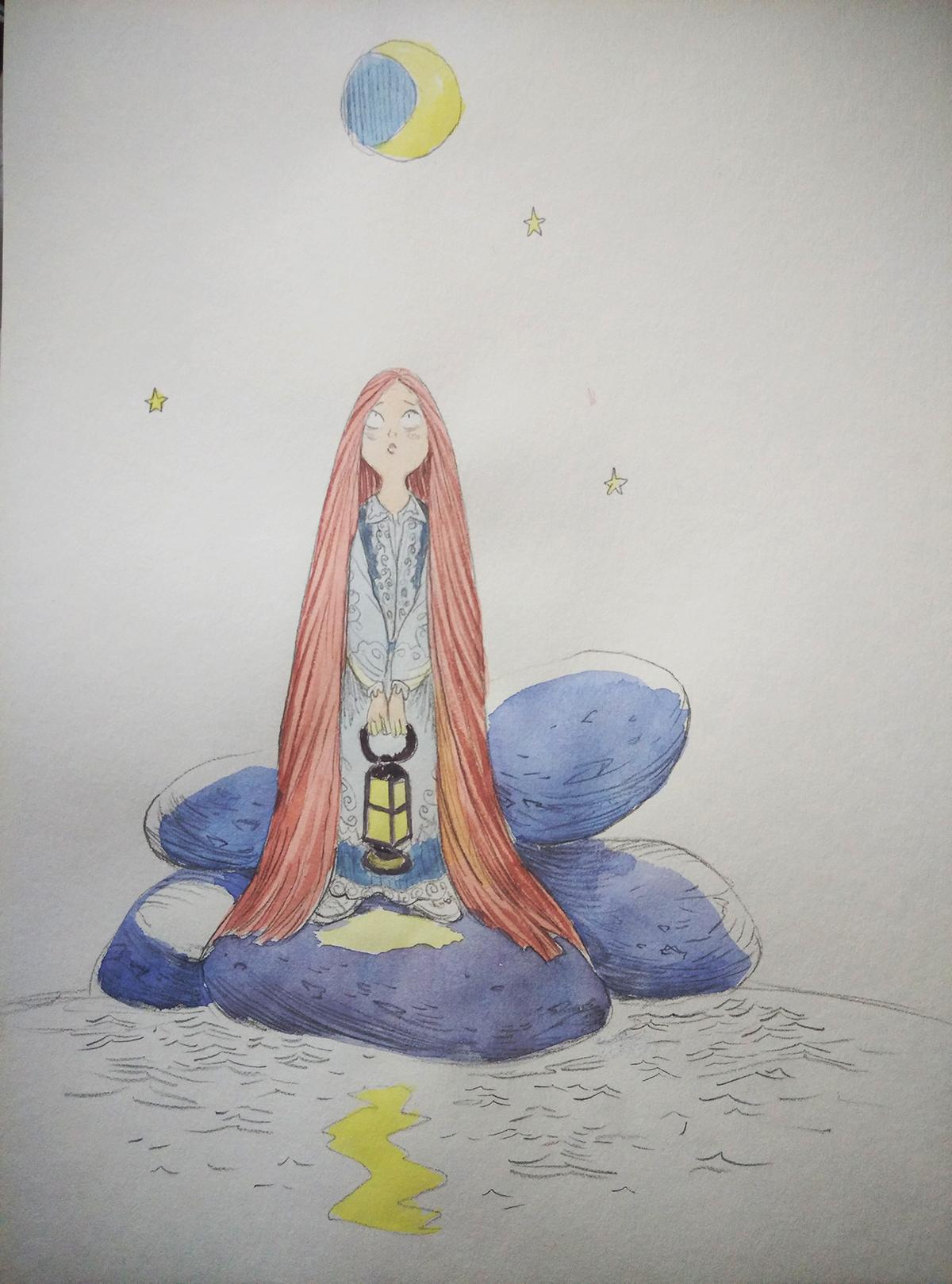 lost art longhair redhair watercolor comic book tale