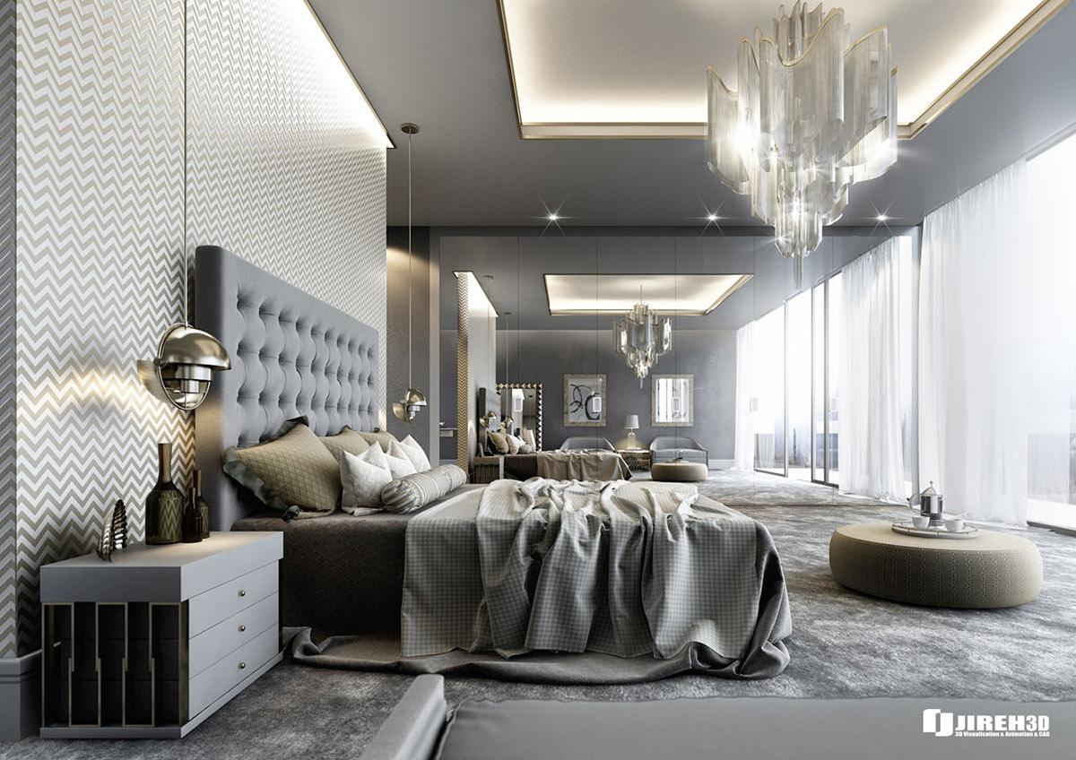 Vrayforc4d Scene Files Modern Classic Bedroom Scene On Behance