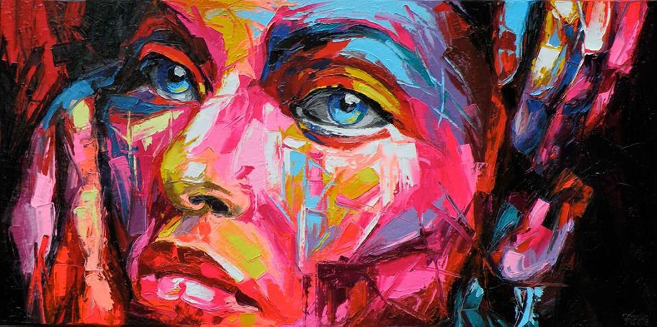 Paintings corentin corentin rieke artist corentin faces fluo-art pop-art oil on canvas bright colors rieke corentin
