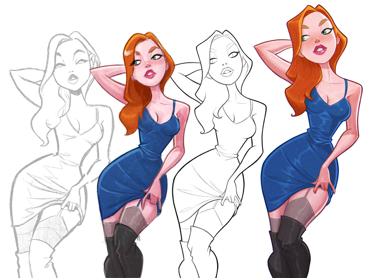 pinup model anatomy gesture characterdesign ILLUSTRATION  Drawing