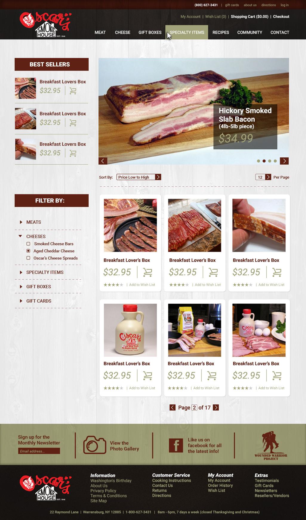 smokehouse meat Website local food adirondacks modern clean