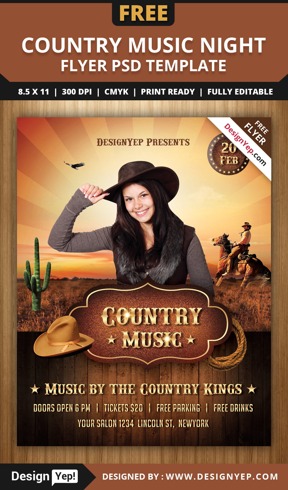 free country music night flyer psd template on behance