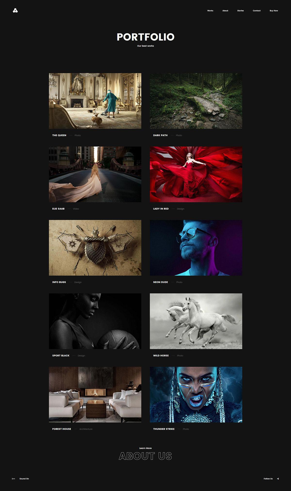 Website Layout portfolio gallery slider mobile grid fullscreen typography