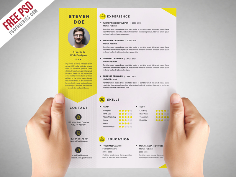 Download Clean Resume CV Template Free PSD This Is A Professional Modern That Will Make You Stand Out From The Crowd