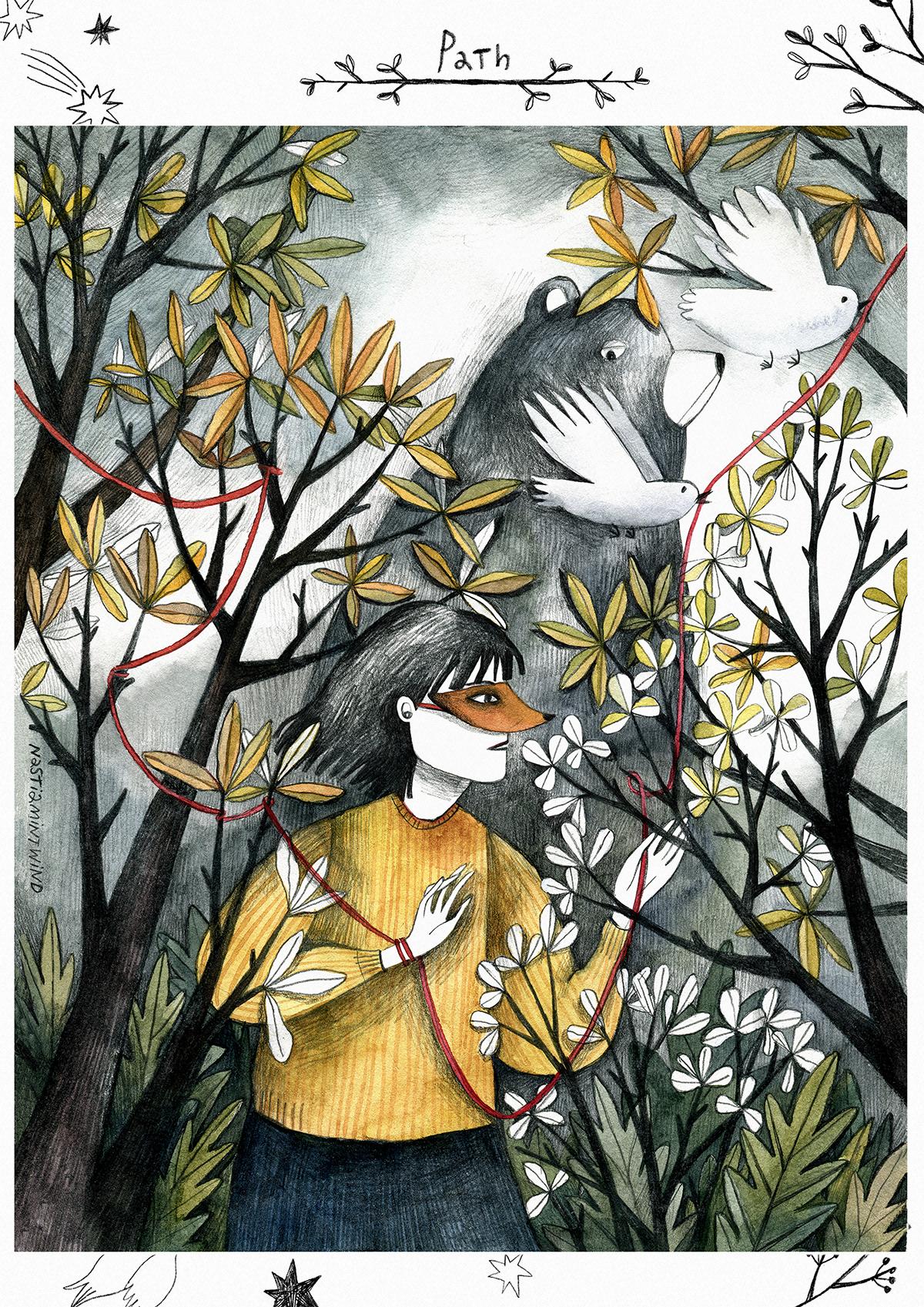 ILLUSTRATION  folktaleweek children illustration bear girl forest folk tale kidlitart Drawing  Illustrator