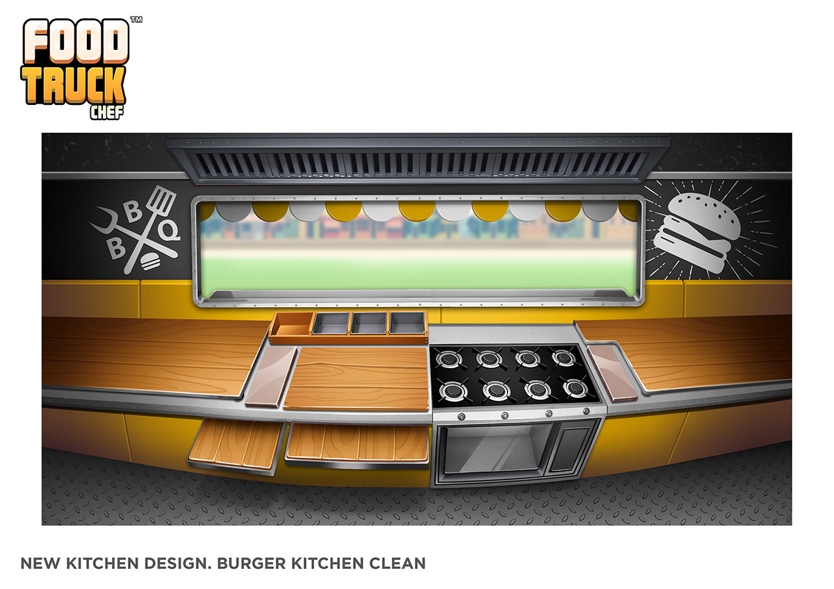 videogame chef Food truck marketing   cartoon burger