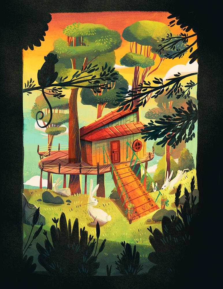 woods,bunny,childrens book,tree house,forest,drawbridge,narrative,book