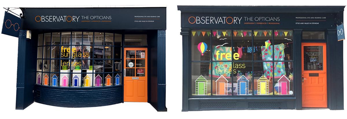 design graphic design  shop front branding  store design opticians Window Display fascia identity