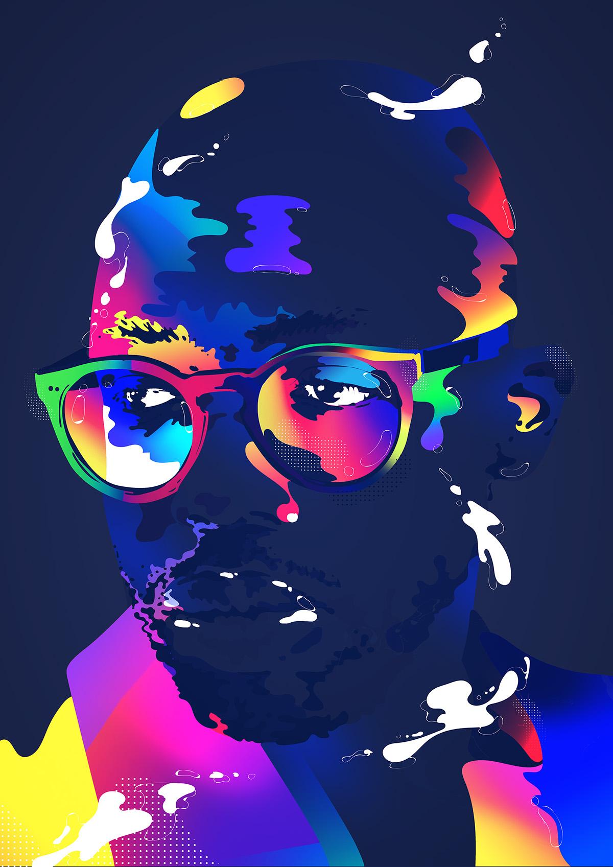 musician color pantone miguel Stromae adobe adobemax portrait magazine dj Singer spotify playlist Illustrator photoshop