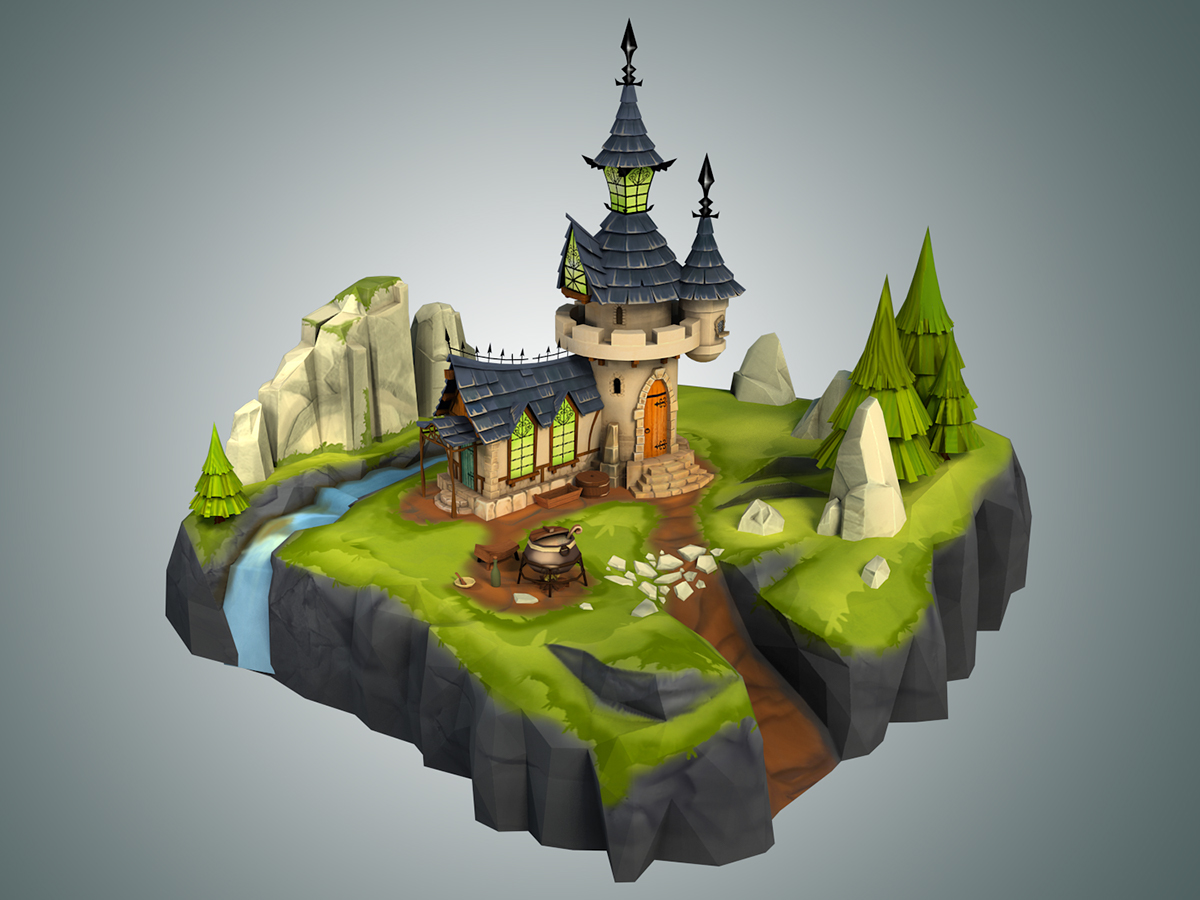 Hand Painted Low Poly D Models
