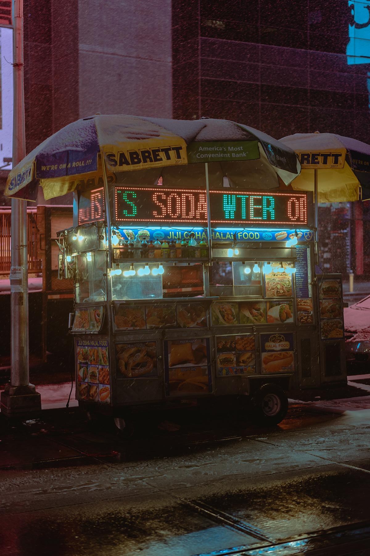 New York night storm streets future neon snow street photography new york night times square