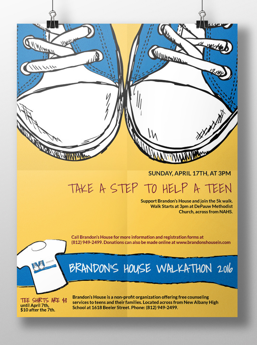 brandons house walkathon flyer mailer tshirt on behance