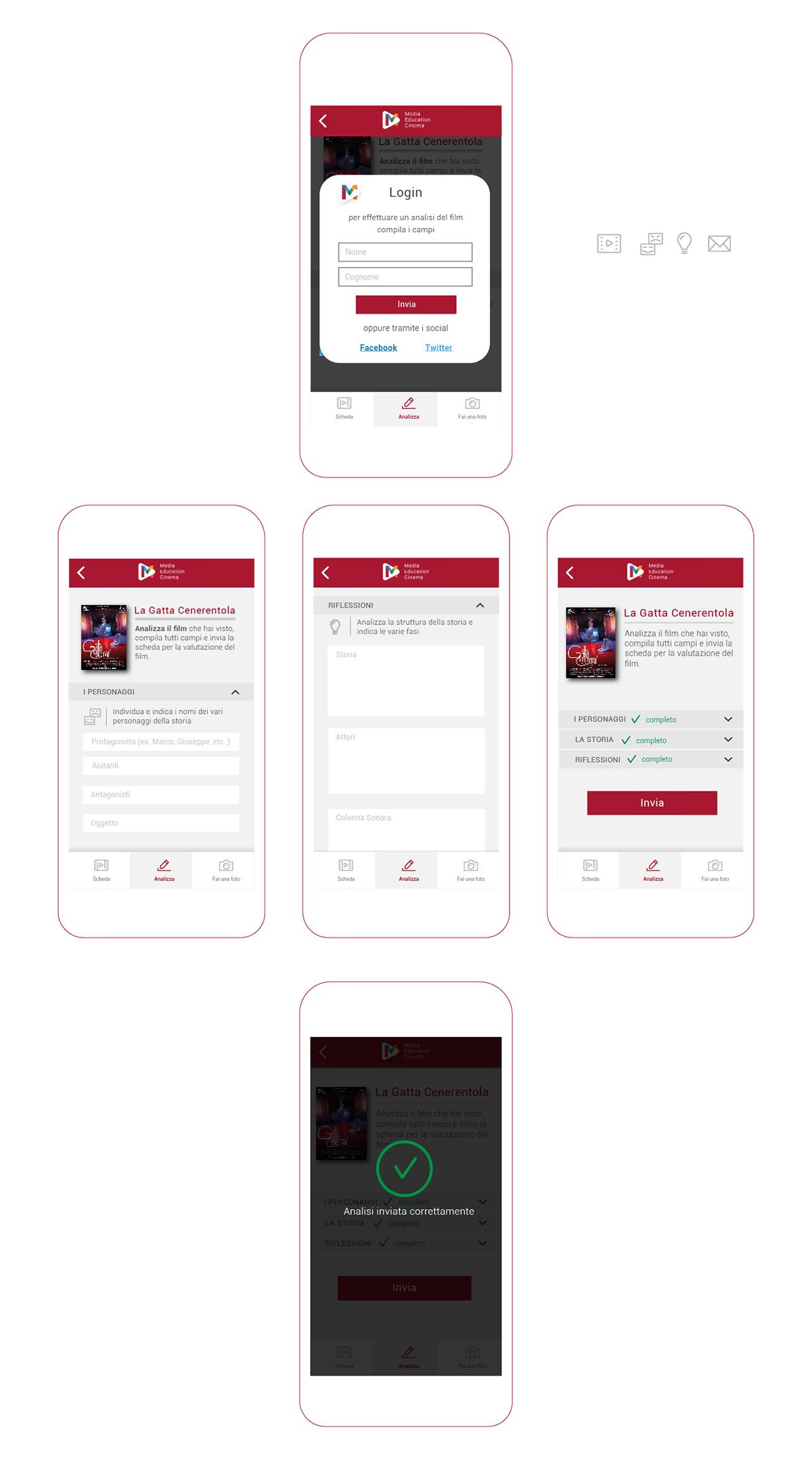 App Di Design ui/ux design - media education cinema app on student show