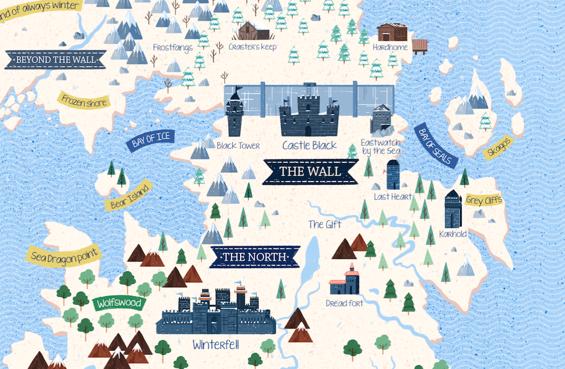 photo about Game of Thrones Printable Map called Video game of Thrones sigils and illustrated map upon Behance