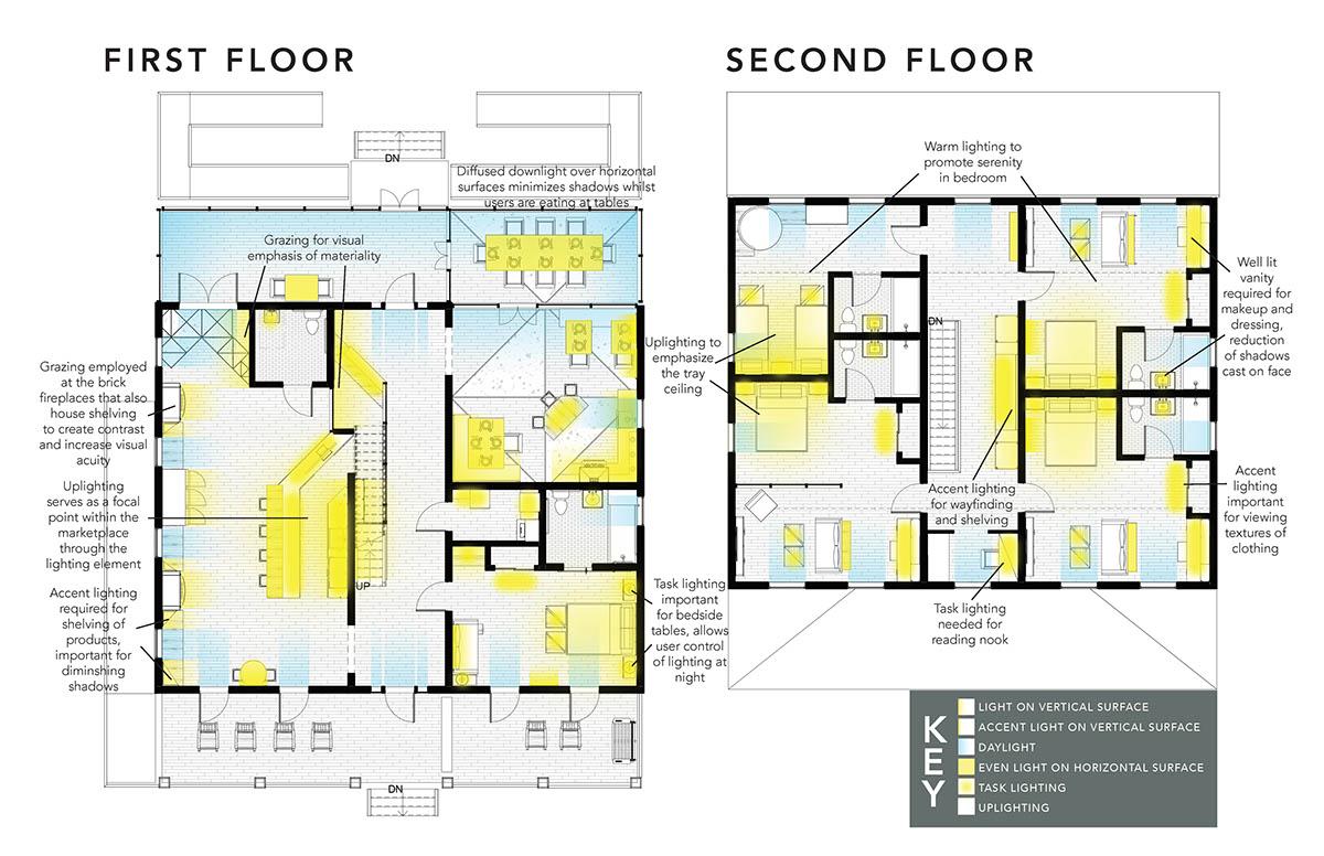 Lighting For The Interior Lighting Plan For Studio 2 On Scad Portfolios