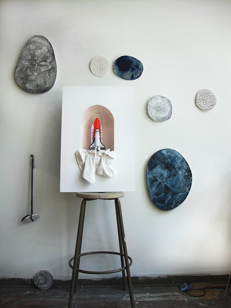 installation sculpture printmaking plaster grid