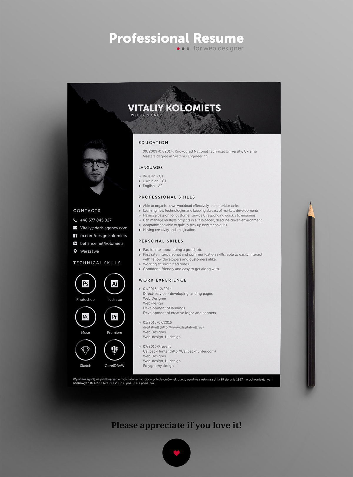 Free Modern Resume Template On Student Show