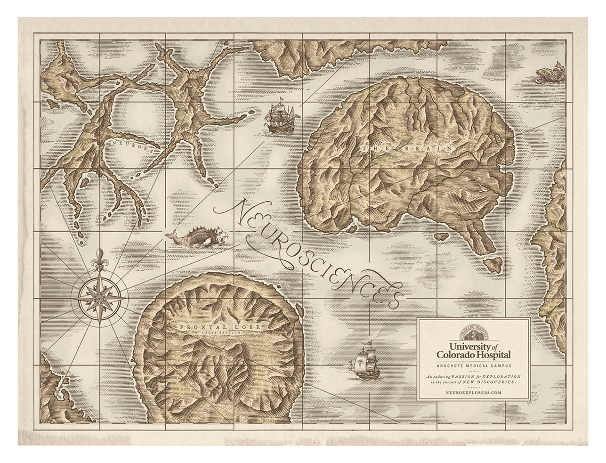University of colorado hospital map illustrations on behance these map illustrations were created in a line etching style to give that aged old world map feel with parchment background along with a muted watercolor gumiabroncs Choice Image