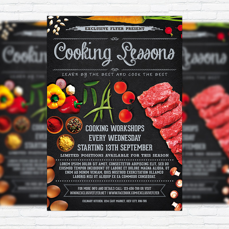 Cooking lessons premium business flyer psd template on behance wajeb Images