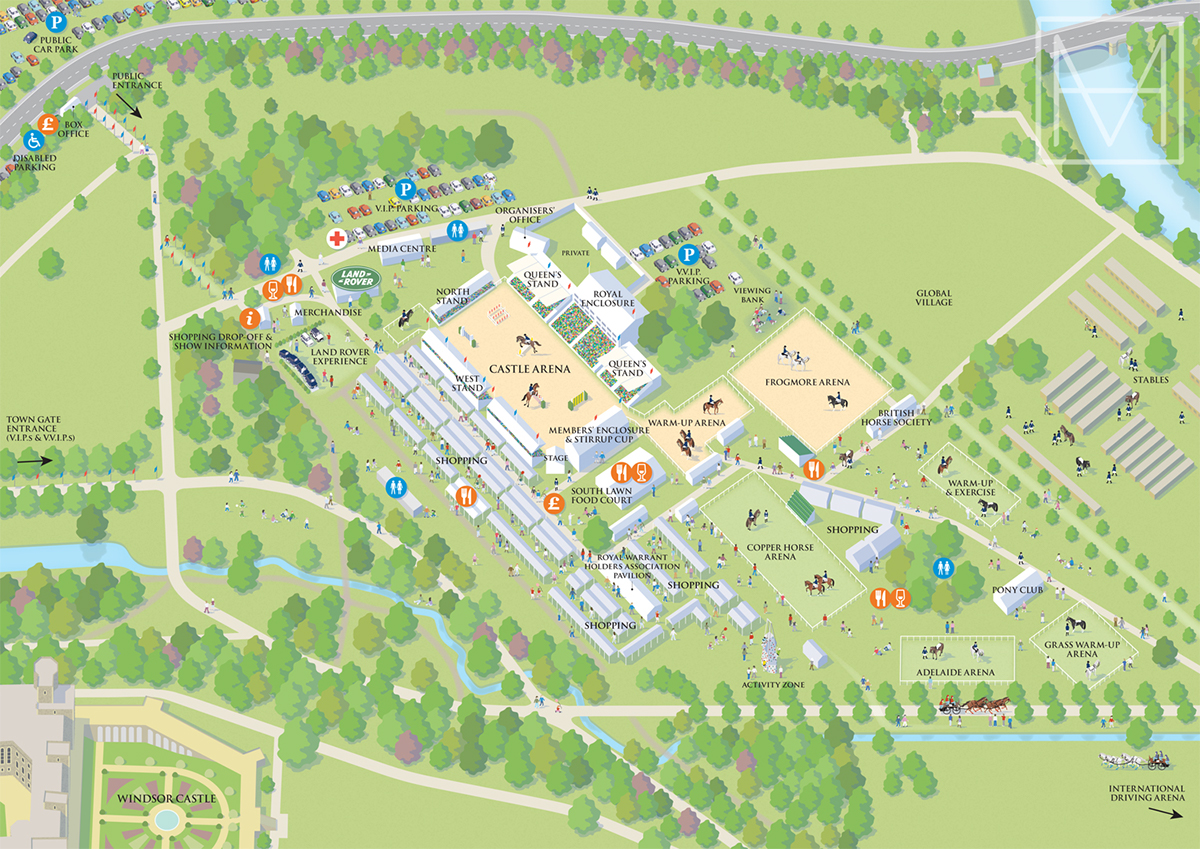 Map Shows The Festival Site Situated Within Home Park Adjacent To Grounds Of Windsor Castle UK Details Include Main Arena And Several