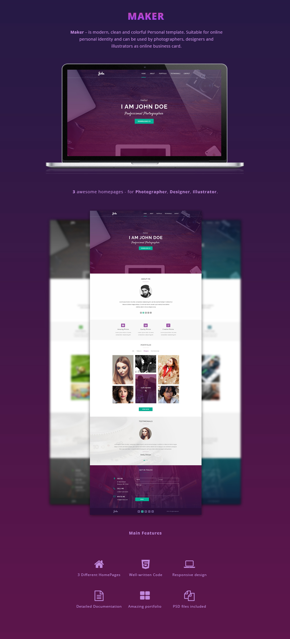 Maker personal html template on behance live preview is here fbccfo