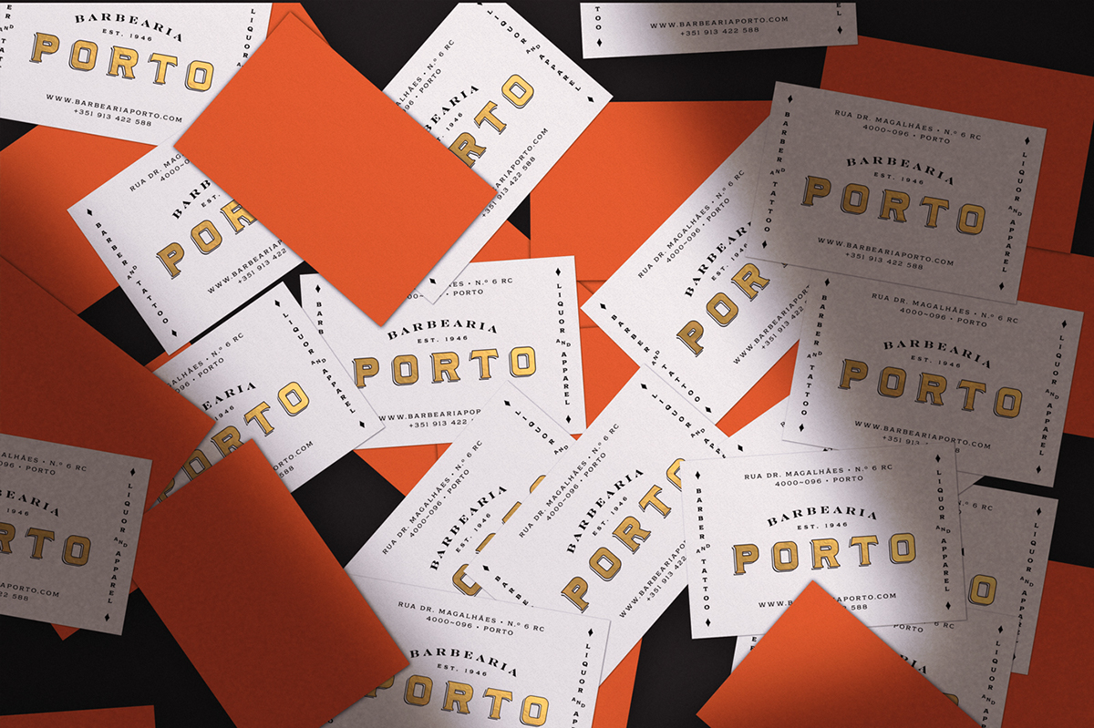 branding  graphic design  typography   gold leaf gilding barber porto Portugal vintage Classic