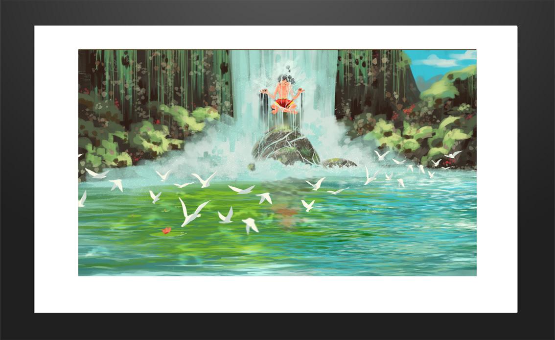 painting   digital art ILLUSTRATION  wacom 2D Landscape summer training print
