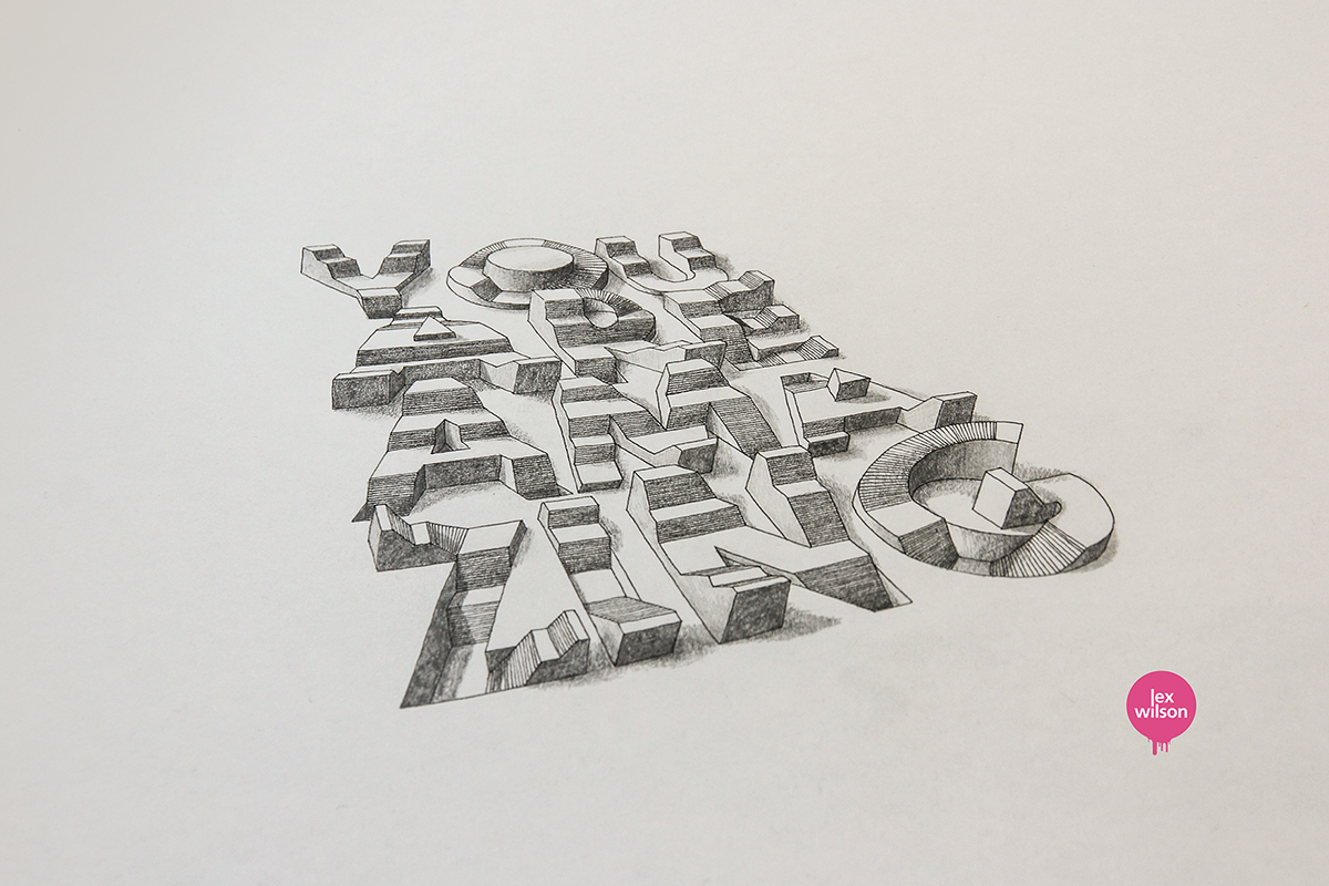 Line Drawing Net : 3d typography on behance