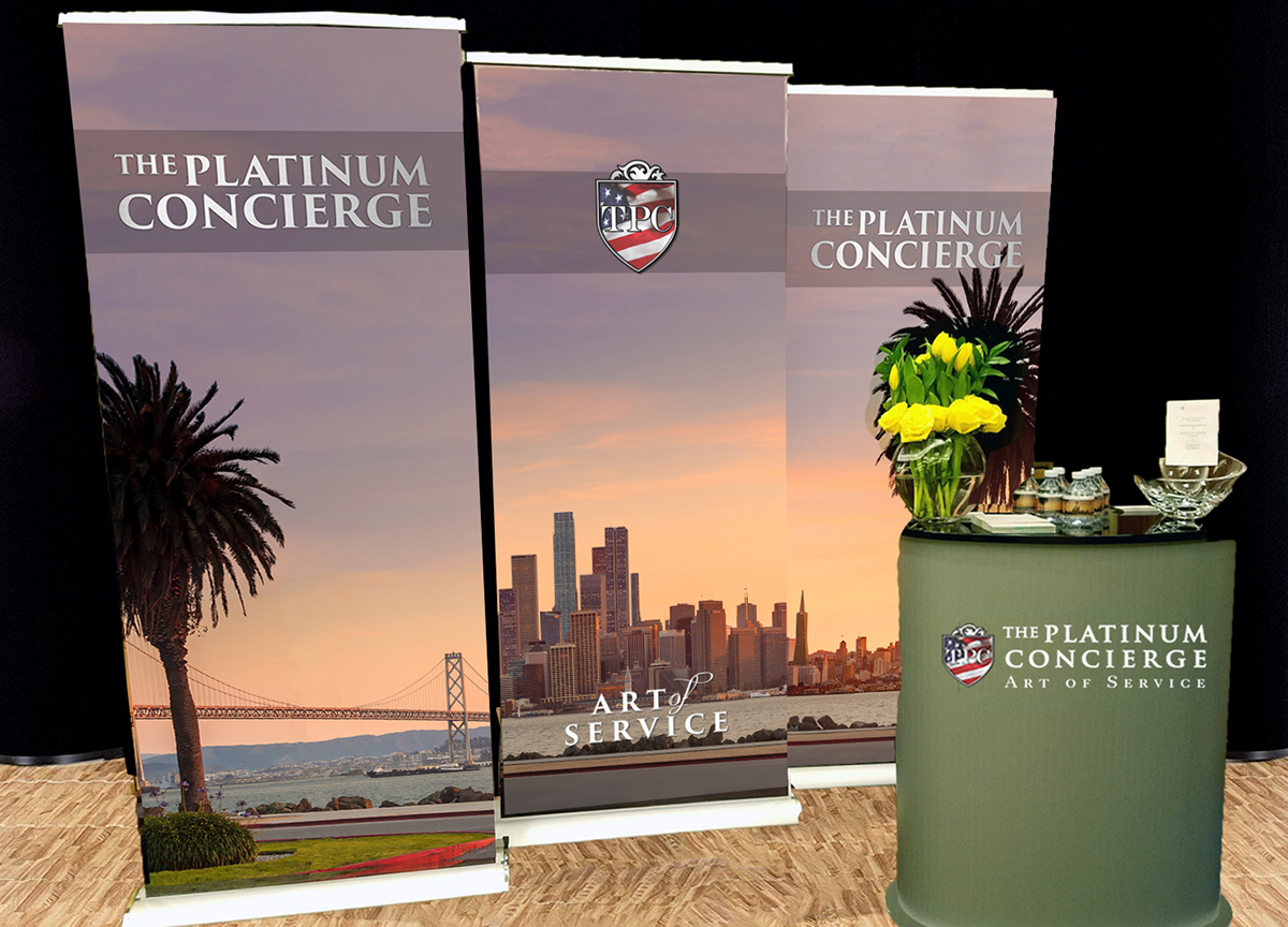 Adobe Portfolio Trade Show marketing materials panels Water Bottles The Platinum Concierge
