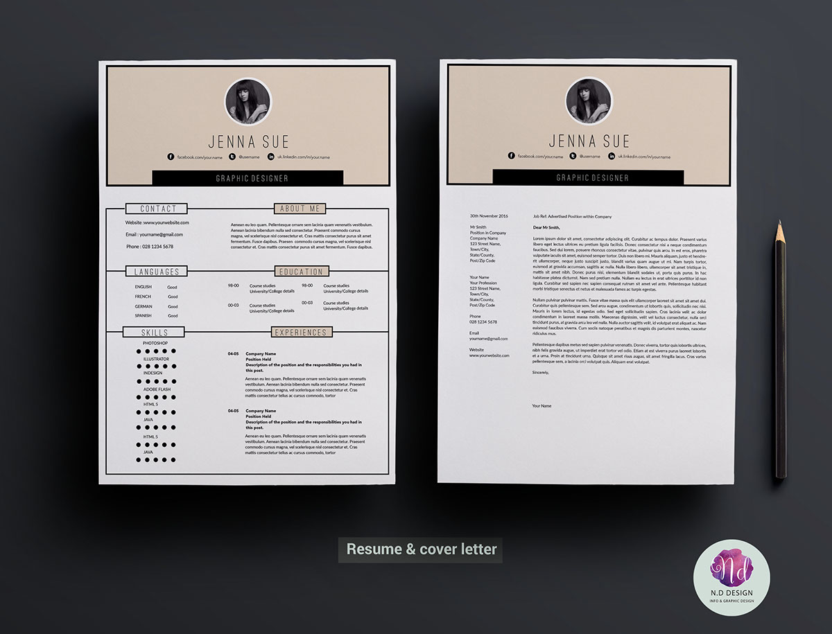 Modern  Page Resume Template On Behance