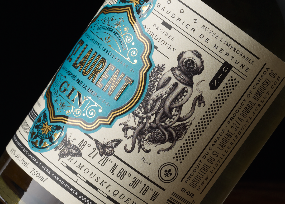 package design  liquor spirit alcohol Label design bottle octopus gold foil type