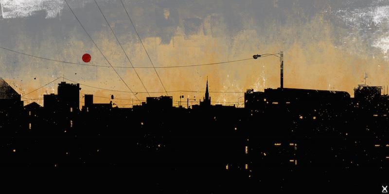 sunset cityscape building Silhouette Nature Sun vector art environment Landscape shapes