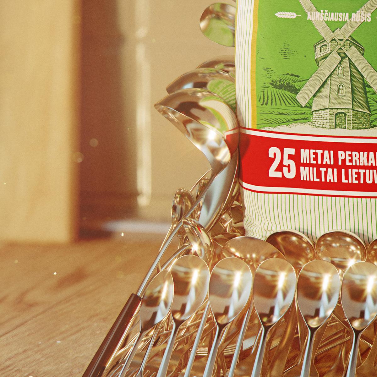 CG ILLUSTRATION  3D Food  table kitchen advertisement spoon