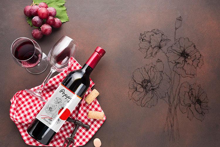 Poppy wine label for Pinot noir
