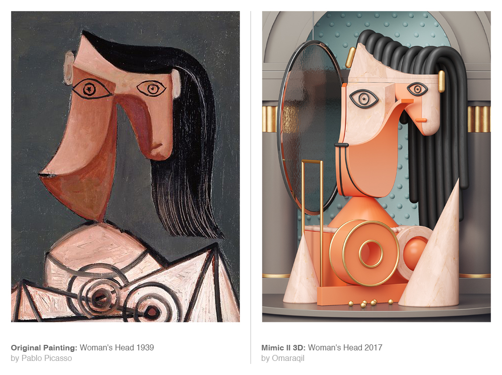 Picasso portraits art Paintings Reproduce modern 3D medieval cinema4d vray