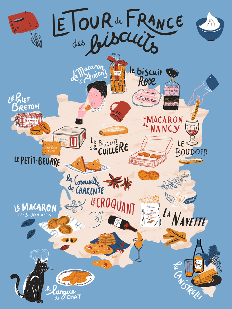 La France Map.Tour De France Des Biscuits Illustrated Map On Behance
