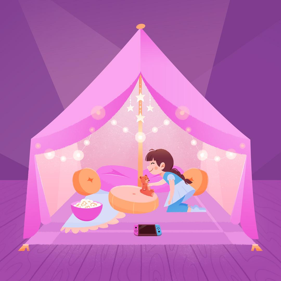 ILLUSTRATION  Digital Art  cozy cute children woman lights