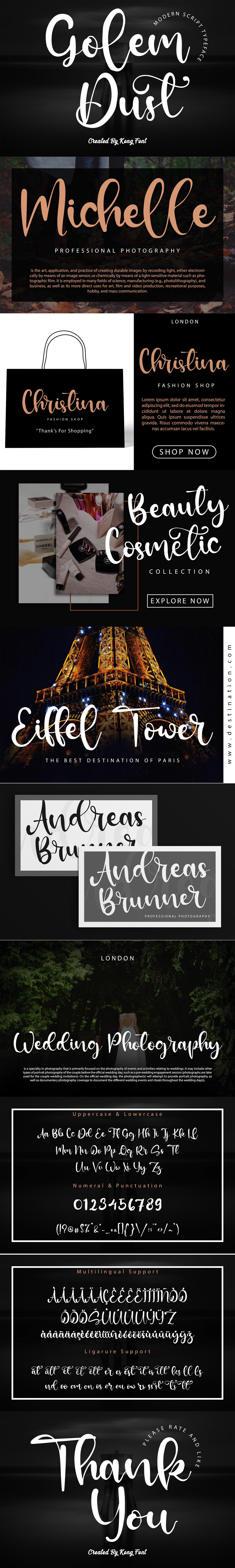 branding  designfont font golem dust greeting card lettering Logotype modern Script Typeface