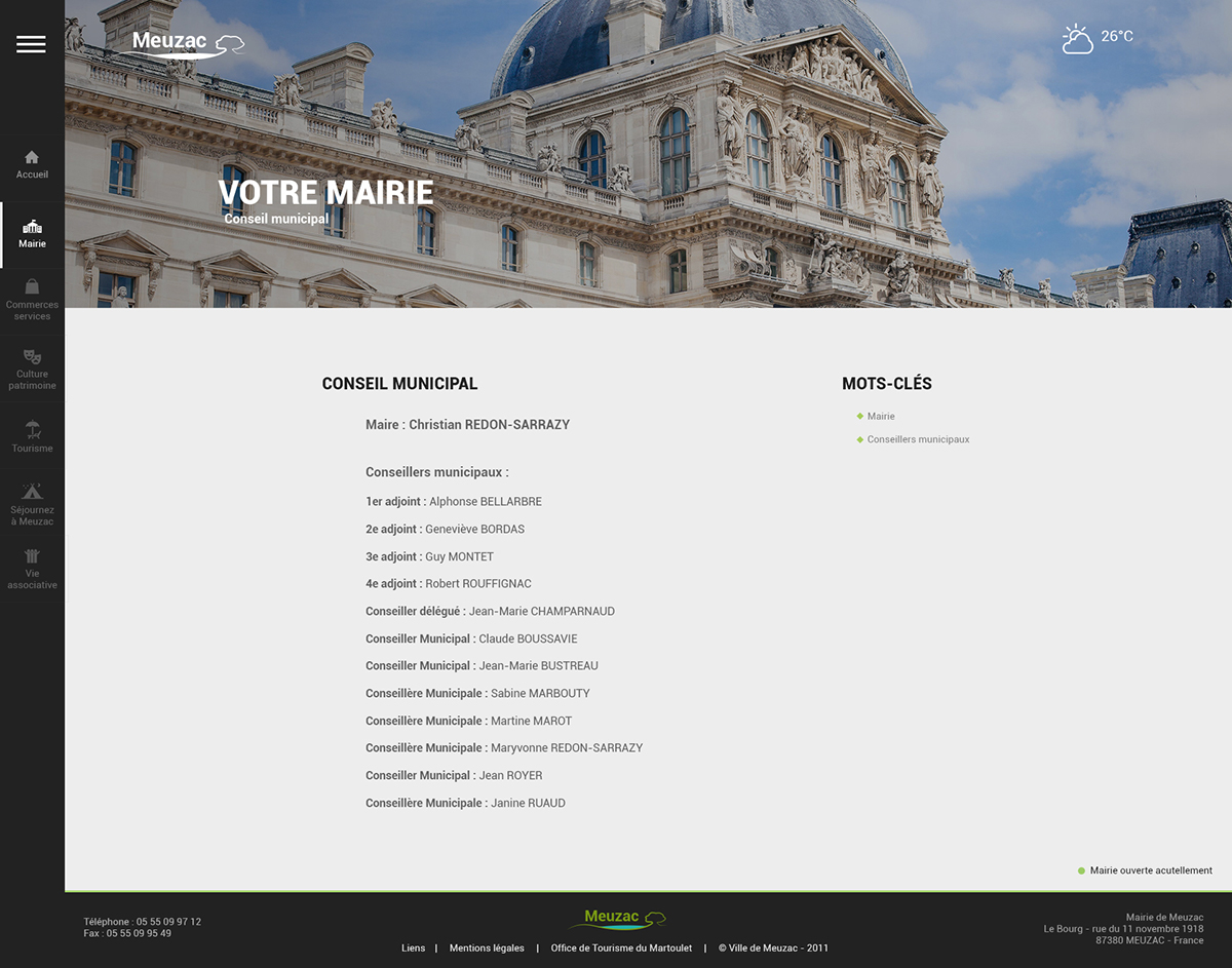 Webdesign redesign Responsive city town ville Mairie ux UI Documents weather news