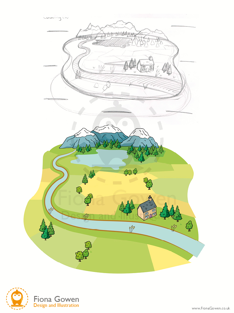 Countryside illustration by fiona Gowen features a cottage, a stream and mountains in the background