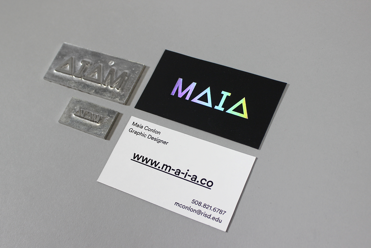 foilstamped business cards on risd portfolios