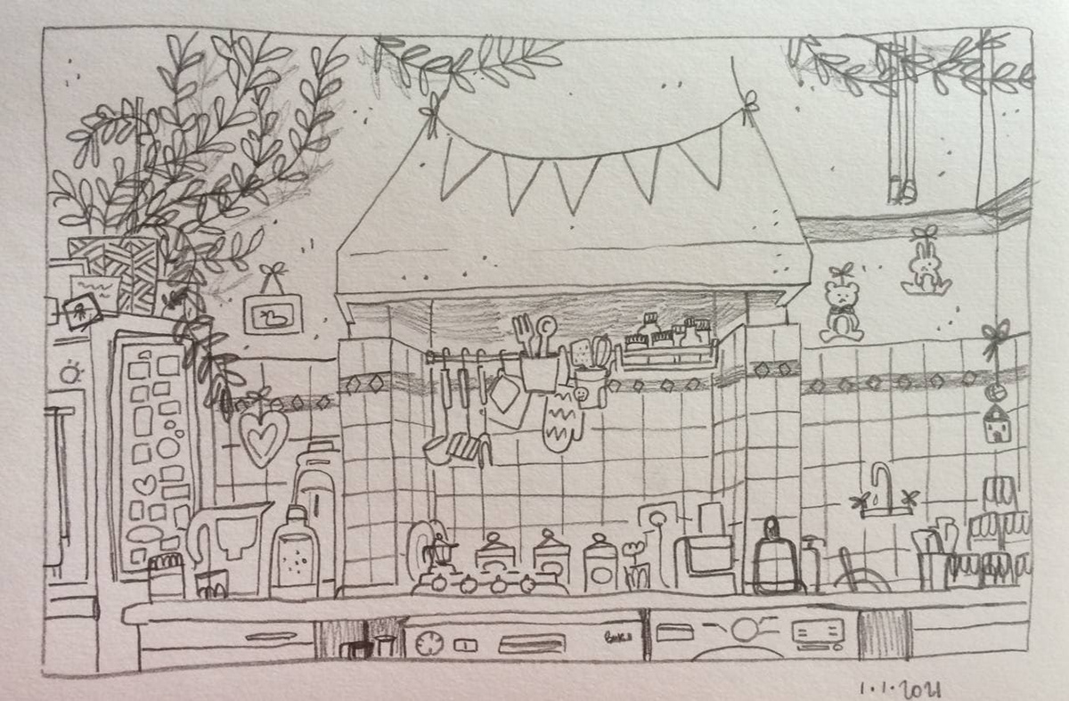 background art childhood childrenbook illustration ILLUSTRATION  kitchen pastel colours study