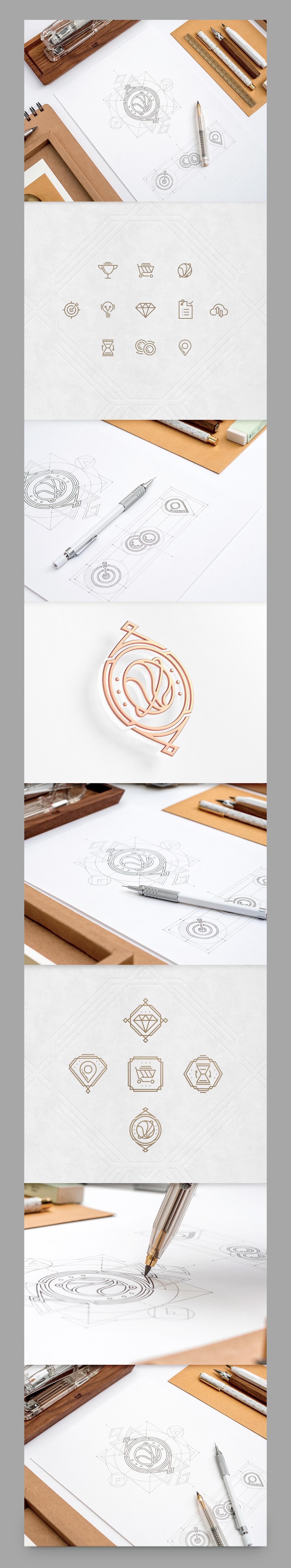 paper art deco concept sketch flat icon set 3D UI