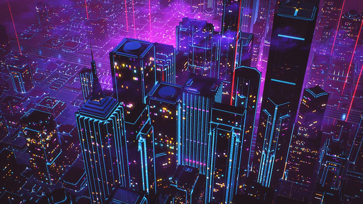 80s Retro wave city DeLorean car future grid wireframe polygon laser Street
