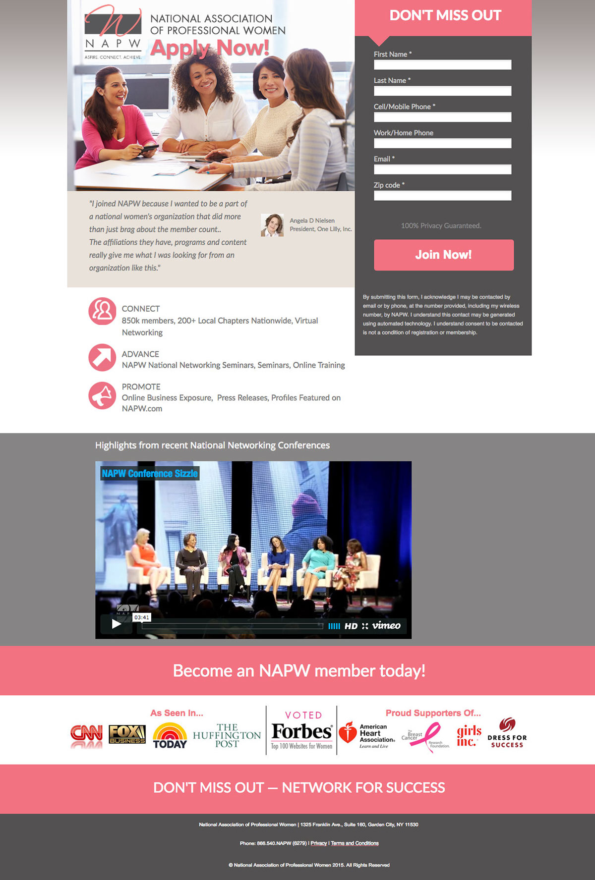 NAPW Landing page for lead generation