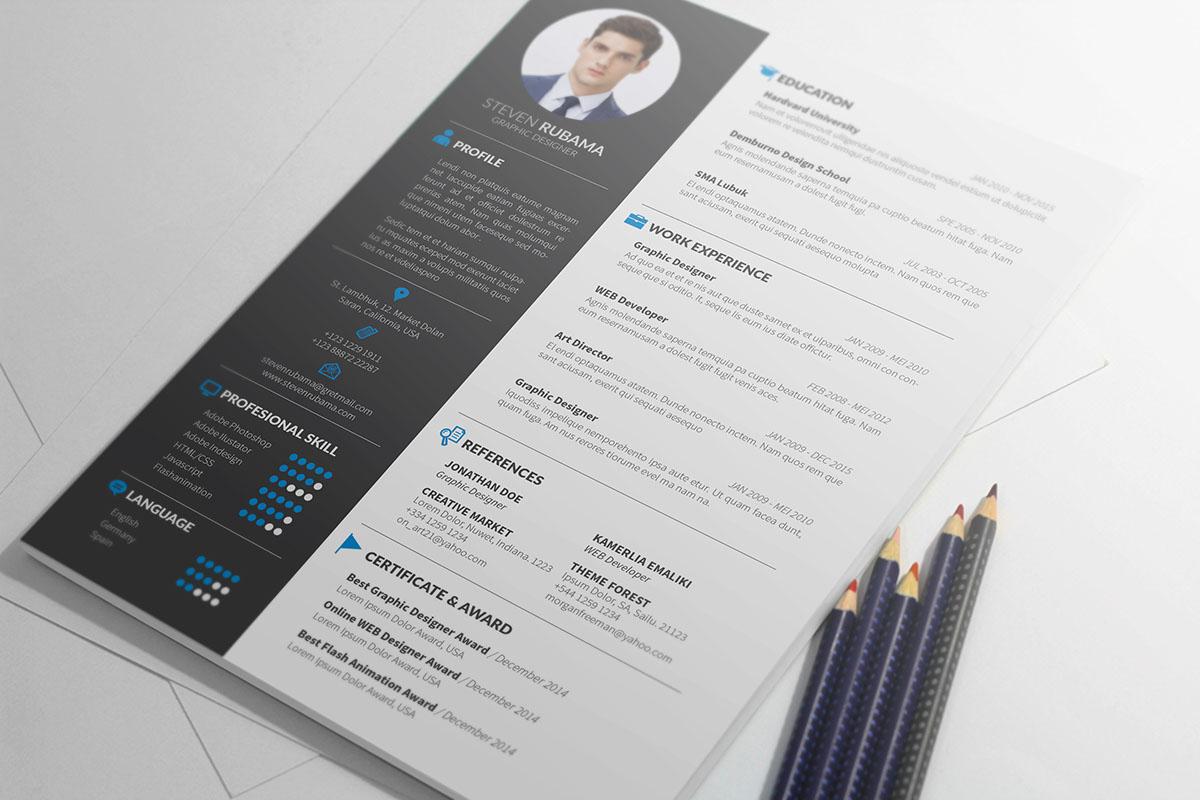 Resume template resume design cover letter cover letter template CV cv design modern minimal professional Curriculum Vitae Us letter DIY